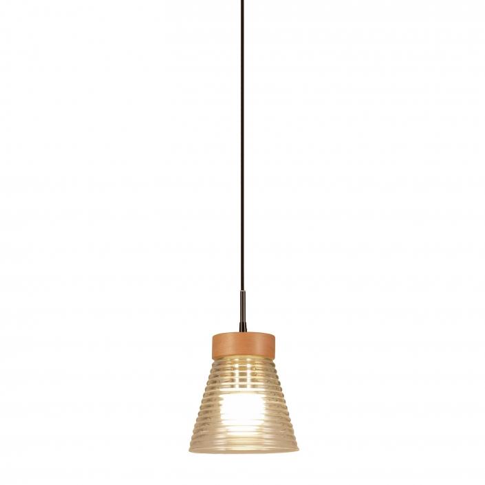 Glaslampe med top i træ fra VillaMax.dk